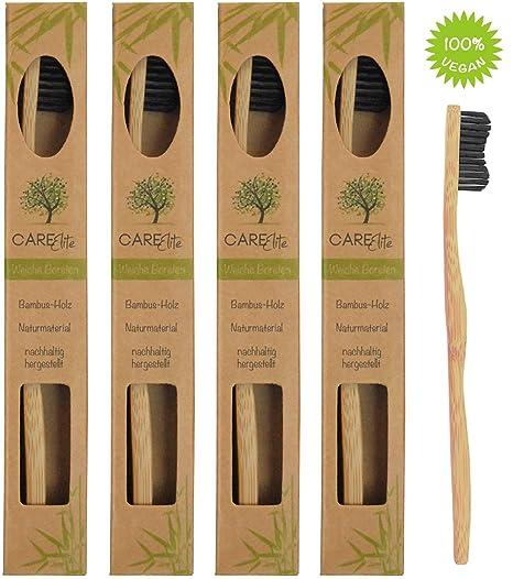 Juego de 4 cepillos ecológicos ♻ de dientes, fabricados con madera de bambú