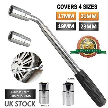 4 formas Universal para tuercas de rueda Brace telescópica llave 17 19 21 23 mm tomas para coche vehículo herramienta de mano de alta calidad: Amazon.es: ...