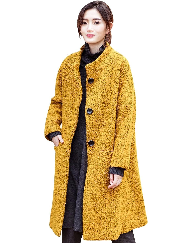 Zoulee Women's Single-breasted Loose Woolen Coat
