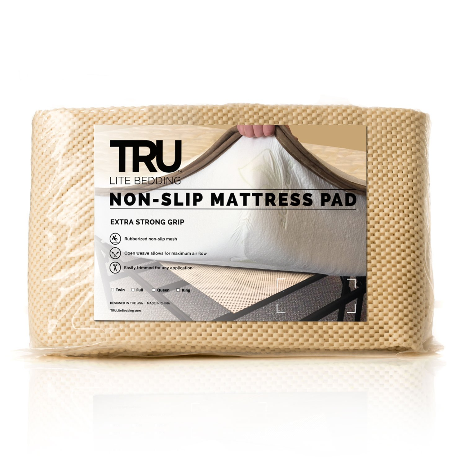 TRU Lite Bedding Extra Strong Non-Slip Mattress Grip Pad - Heavy Duty Rug Gripper- Secures Carpets and Furniture - Easy, Simple Fit - Queen Size - Rug Gripper for 5' x 7' Rug