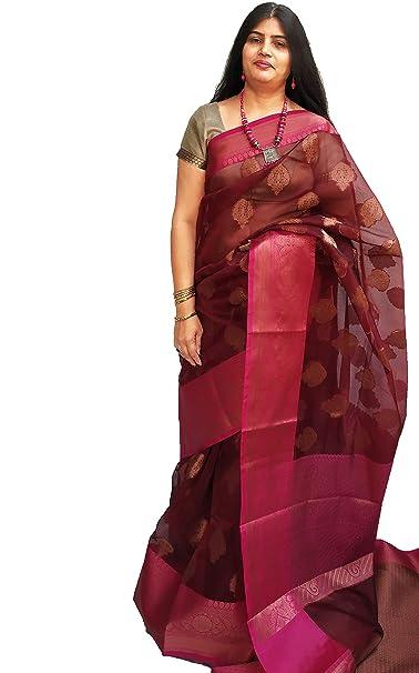 11b4068f0c weaver's tale women's Varanasi origin handloom weaving banarasi organza  saree with antique gold butta with rich