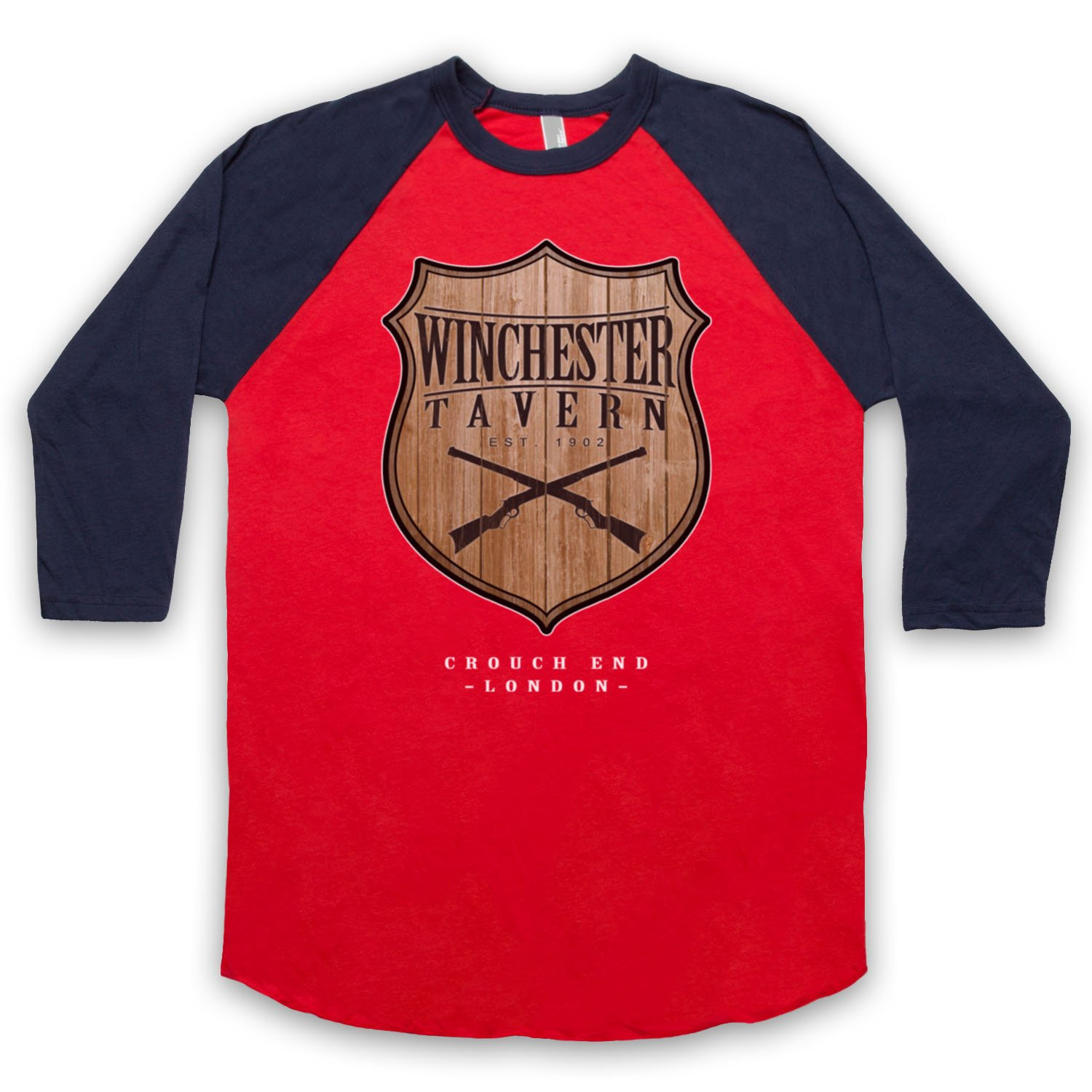 Inspired by Shaun Of The Dead Winchester Tavern Unofficial 3/4 Sleeve Retro Baseball Tee