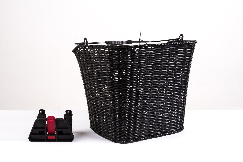 Fahrrad Korb vorn abnehmbar Rattan Optik Einkaufs Easy Click Citykorb schwarz Büchel