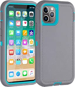 Co-Goldguard Case for iPhone 11 Pro,Heavy Duty[Litchi Pattern Series] 3 in 1 Durable Cover with Screen Bumper Shockproof Drop-Proof Shell Cases for Apple iPhone 11 Pro 5.8 inch,Light Blue&Grey