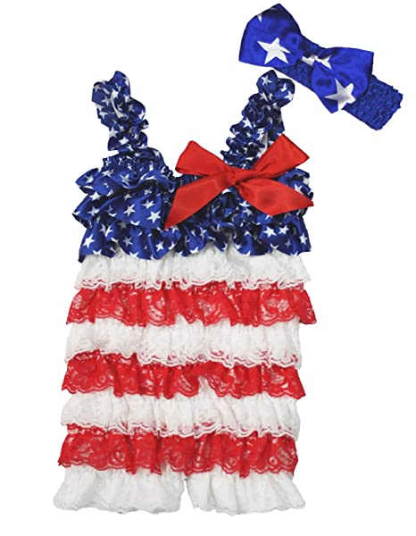 cfb27a8e04b0 4th July Dress Patriotic Star Red White Lace Romper Baby Bodysuit Nb-36m (12