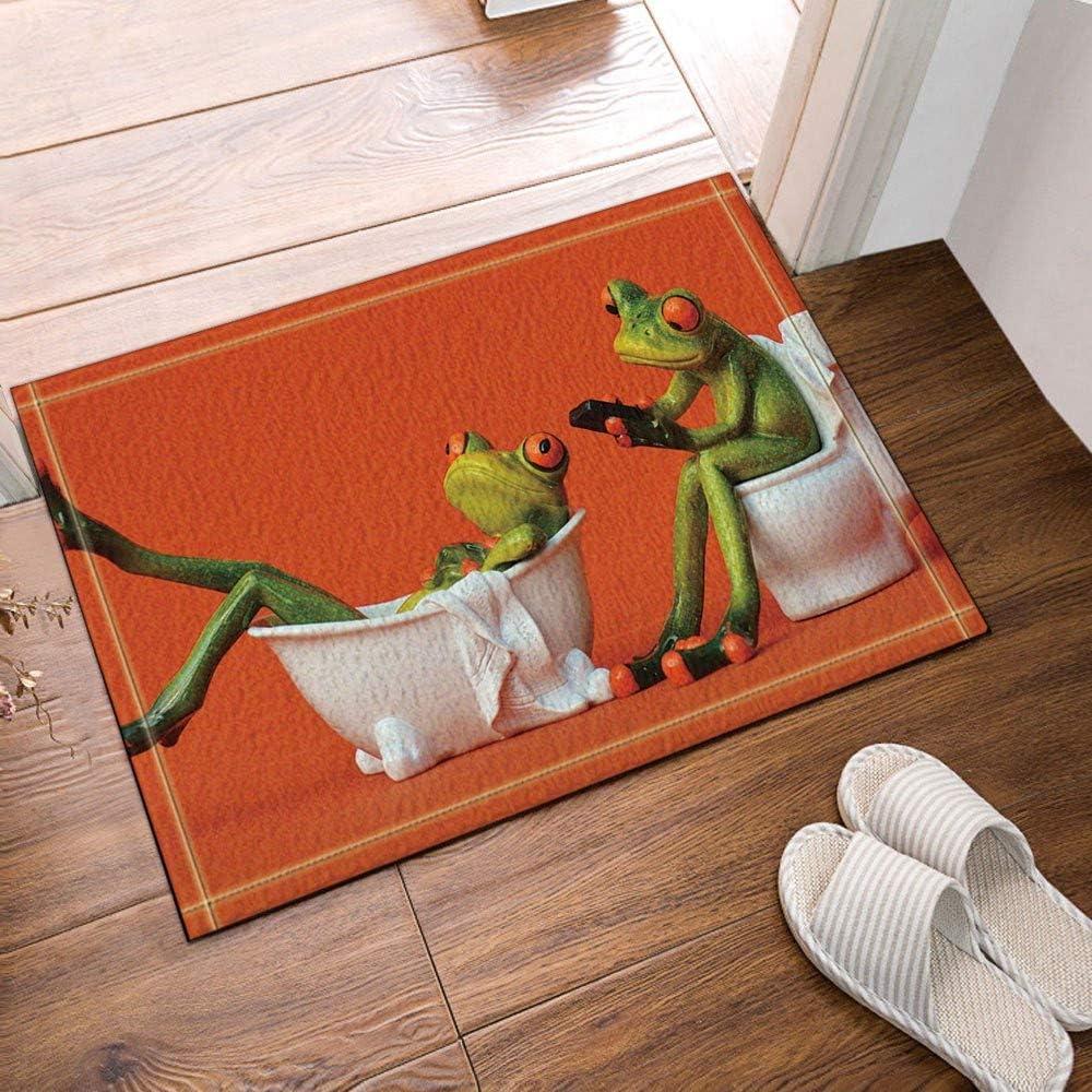 Grenouille d/écorative des animaux assis dans la baignoire des toilettes Tapis de salle de bain tapis de porte anti-d/érapant tapis de salle de bain pour enfants accessoires de salle de bain 40x60cm