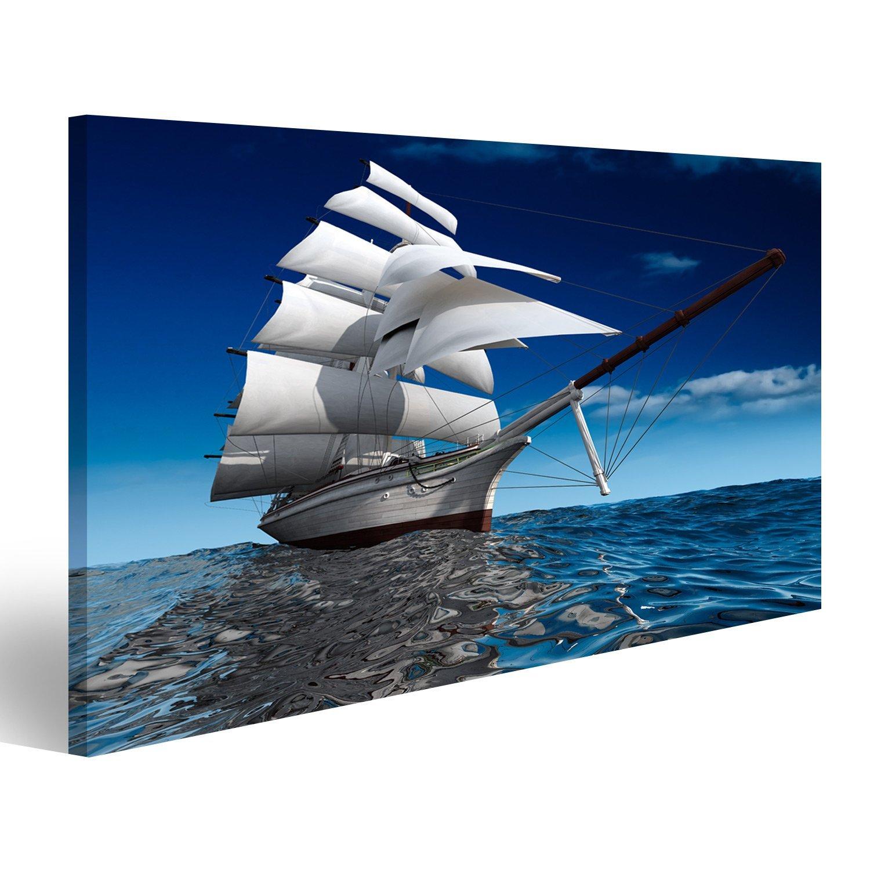 islandburner Quadro moderno Barca a vela in oceano con piccole onde Stampa su tela - Quadro x poltrone salotto cucina mobili ufficio casa - fotografica formato XXL