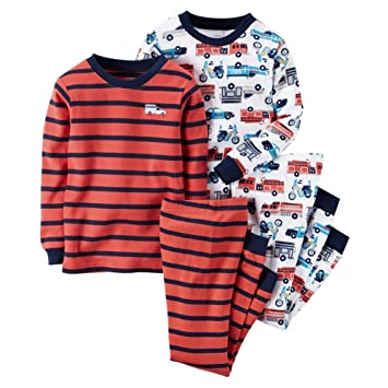 5f6f20376 Amazon.com  Carters Baby Boys 4-Piece Snug Fit Cotton PJs Firetrucks ...