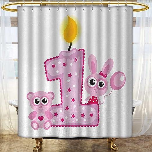 Anhounine Cortina de Ducha 1er cumpleaños, diseño ...