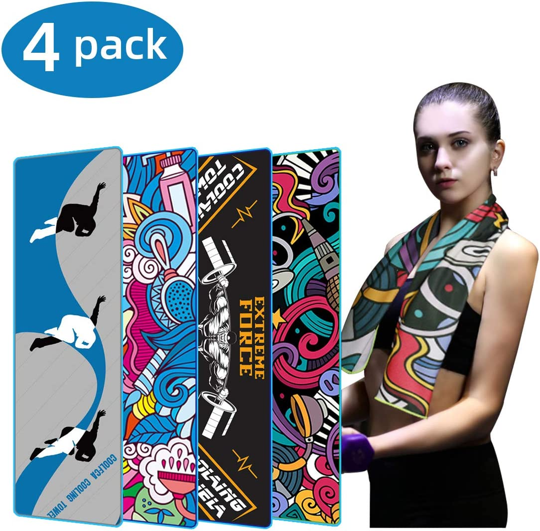 Crenics Cooling Towel 40x12 Inches, Ice Towel, Soft Breathable Chilly Towel, Microfiber Towel for Yoga, Sport, Running, Gym, Workout,Camping, Fitness & More Activities