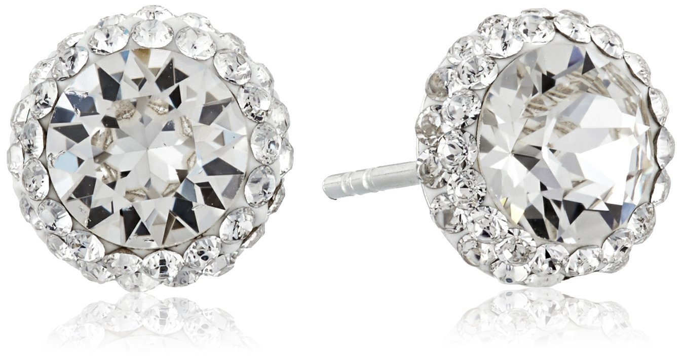 Sterling Silver Swarovski Crystal Halo Clear Stud Earrings