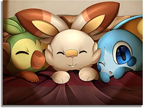 Amazon Com Pokemon Personalized Canvas Sword And Shield Scorbunny Grookey Sobble Sleep For Living Room Bedroom Modern Home Decor 24x18 Inch Paintings Grookey will have two other evolved forms, but those are not revealed, as of march 2019. amazon com
