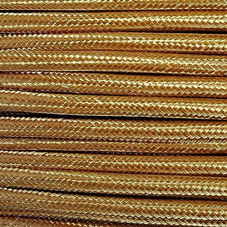 C/âble /électrique en gaine de tissu ronde ou abats-jours Produit fabriqu/é en Italie. Pour lustres lampes Style vintage avec rev/êtement color/é dor/é H03VV-F -Section de 2/x 0,75/cm