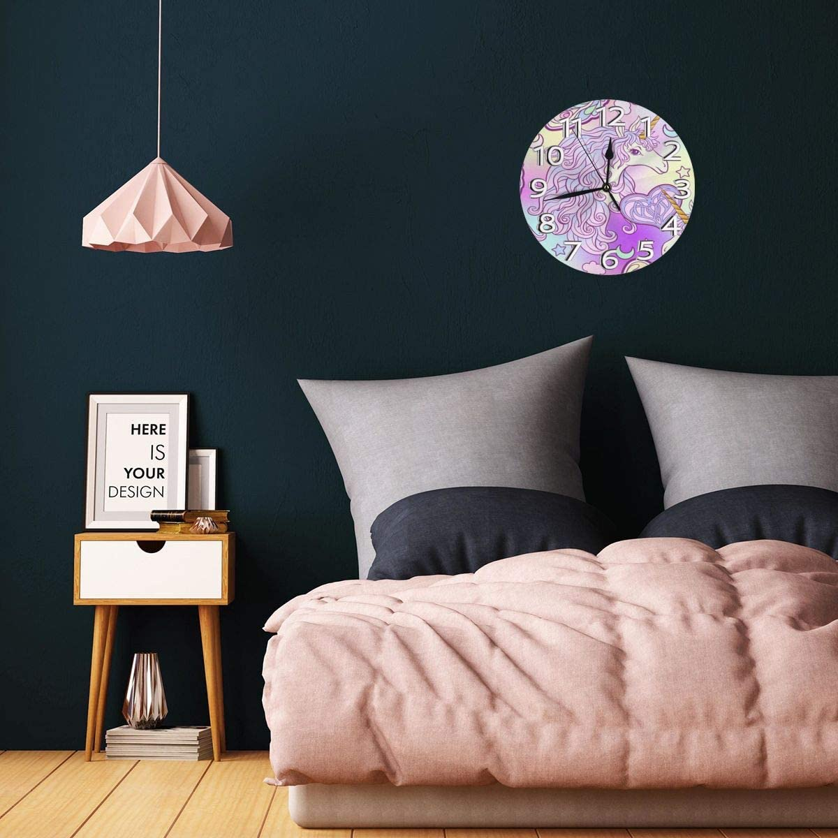 9.8Inch Round Easy to Read Decorative for Home//Office//School Clock FEAIYEA Wall Clock Watercolor Unicorn Purple Decorative Wall Clock Silent Non Ticking