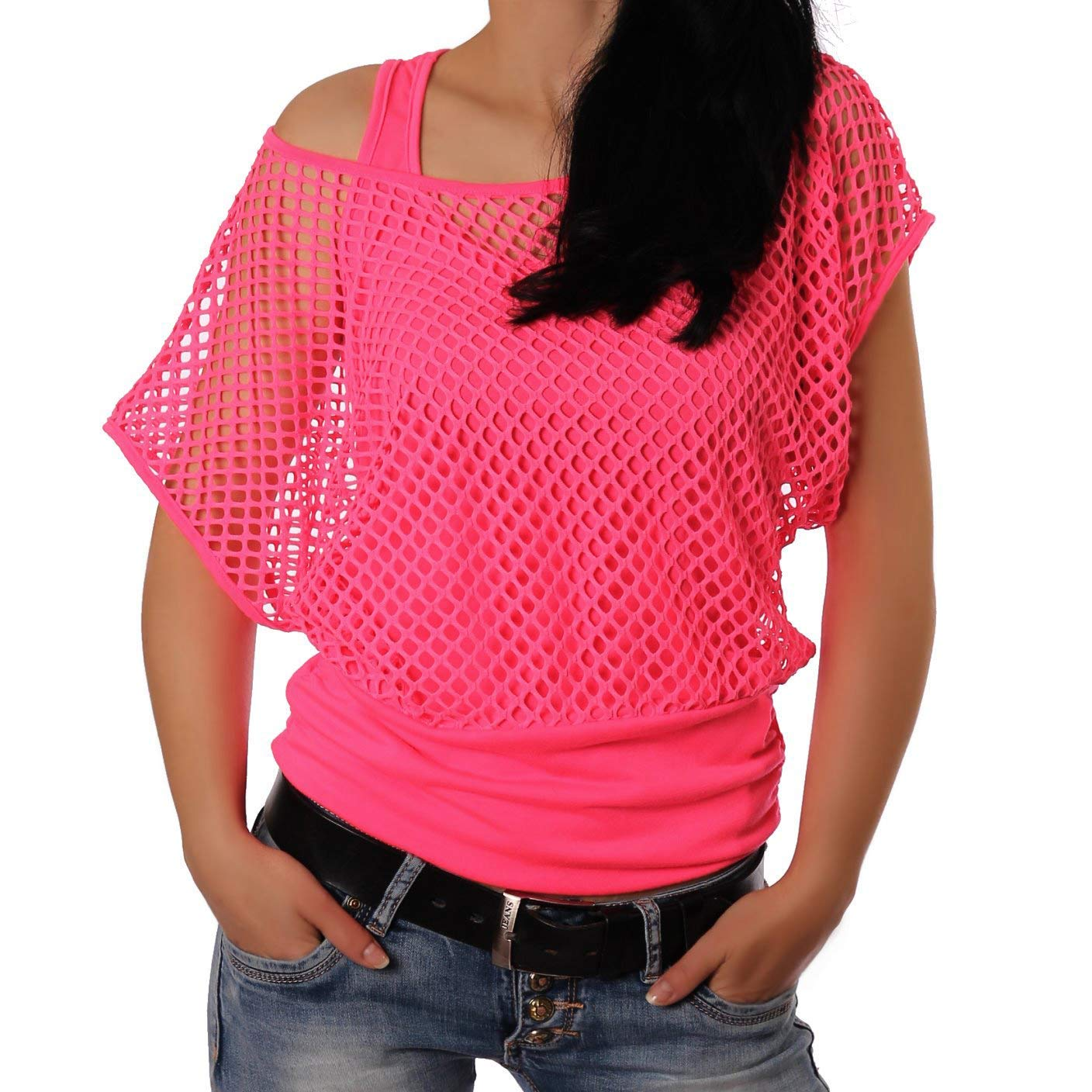 * NEW * Neon Pink Off Shoulder Fishnet Top for Women, XS to 2XL