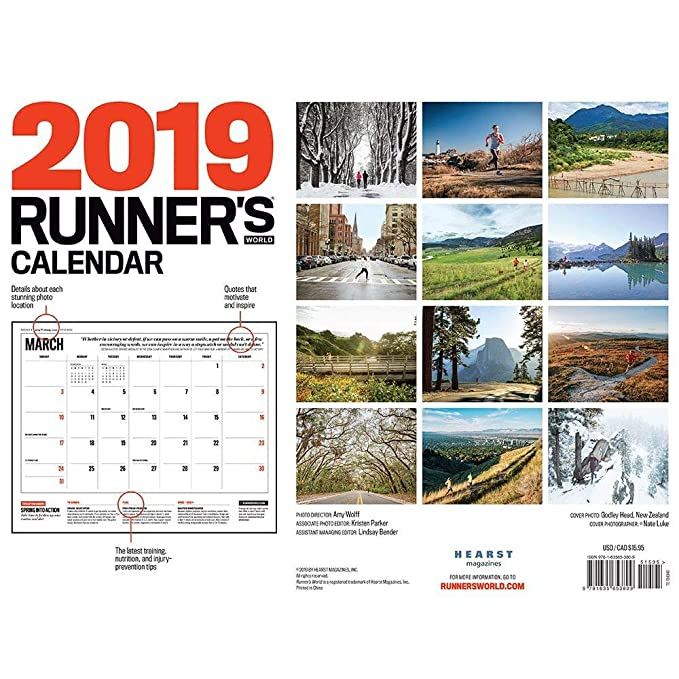 Runners World Passion Planner Wall Calendar 2019, 12 Months of Motivation Planner Organizer