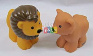 Fisher Price Little People Replacement Animals, Noah's Ark Zoo, Lion Pair, Male & Female, Lighter Male Style