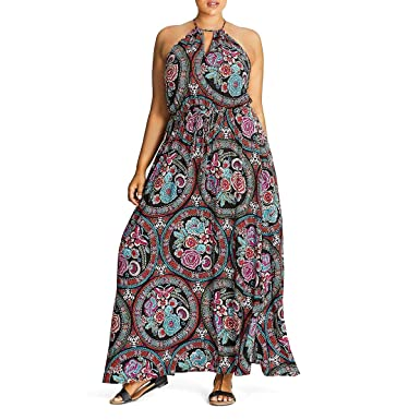 Folklore Printed Plus Size Maxi Dress - Size 18 / M at ...