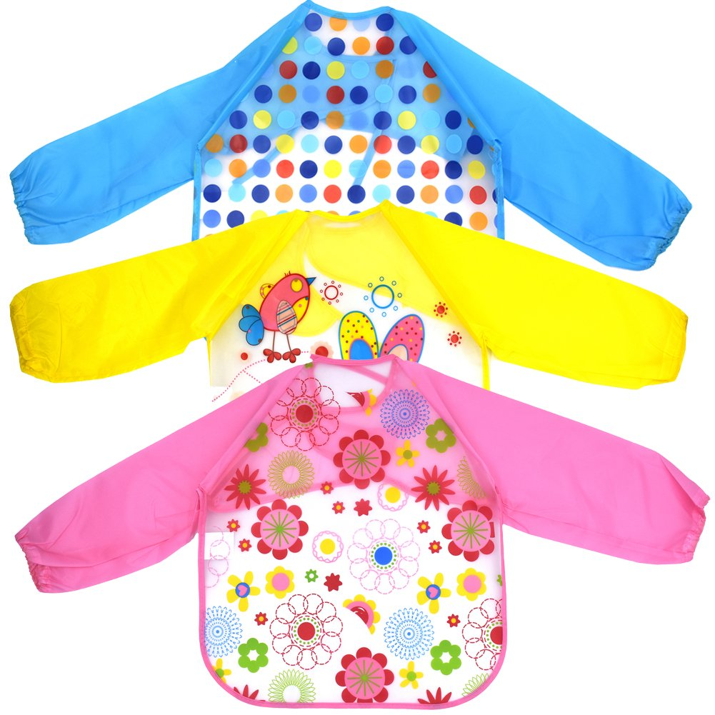 Sept.Filles Baby Apron Waterproof Sleeved Bib for Drawing Painting Packs of 3 (B) SOCK-67B