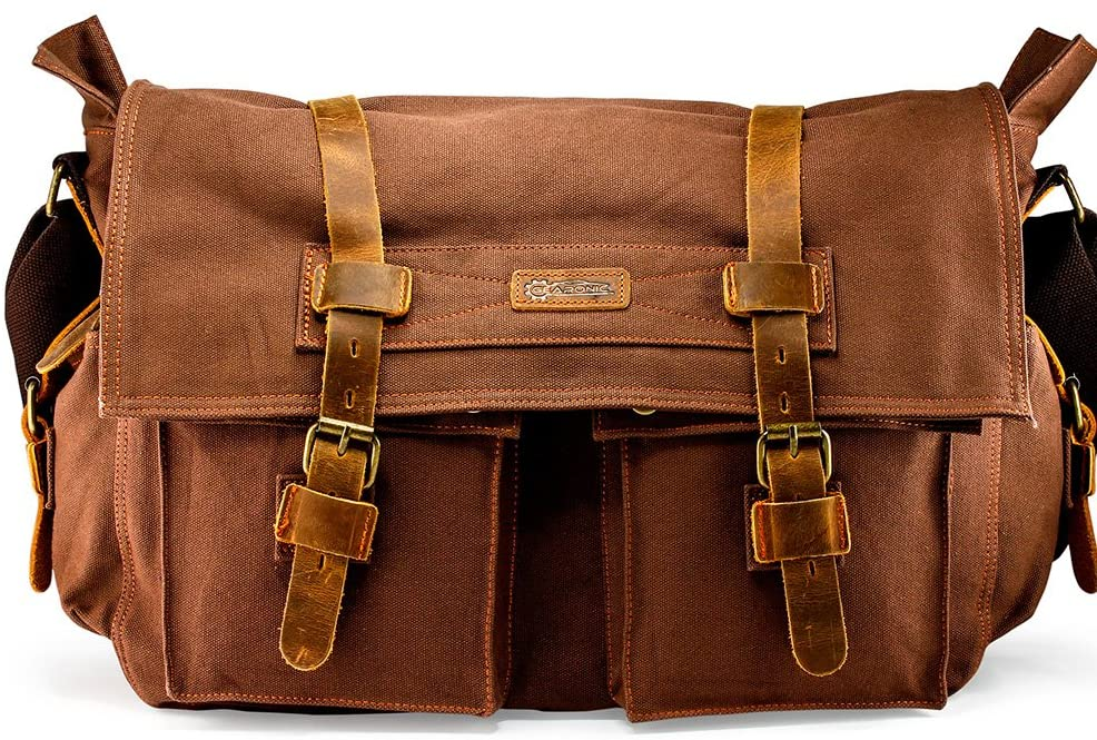 "GEARONIC 14"" 15"" 17"" Men's Messenger Bag Laptop Satchel Vintage Shoulder Military Crossbody"
