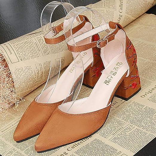 Covermason Zapatos Sandalias mujer verano 2018, cuadrados de tacón alto bordados de tacón bajo de mujer: Amazon.es: Ropa y accesorios