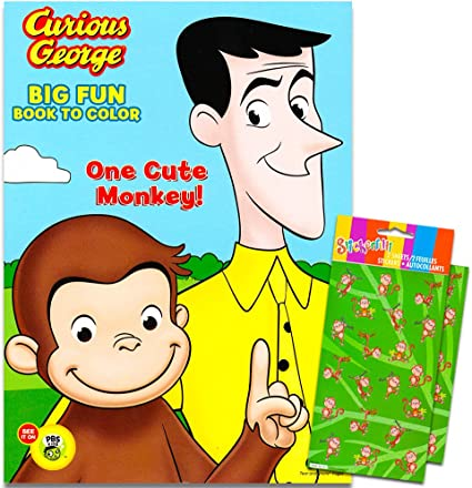Amazon.com: Curious George Coloring Book With Stickers ~ 96-page Coloring  Book