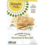 Simple Mills Almond Flour Crackers, Rosemary & Sea Salt, Gluten Free, Flax Seed, Sunflower Seeds, Corn Free, Low-Calorie Snac