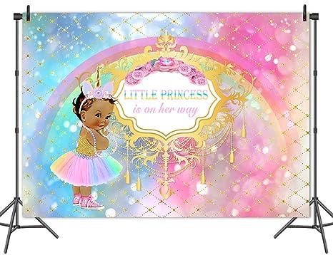 Amazon Com Mehofoto Unicorn Baby Shower Backdrop Princess Rainbow