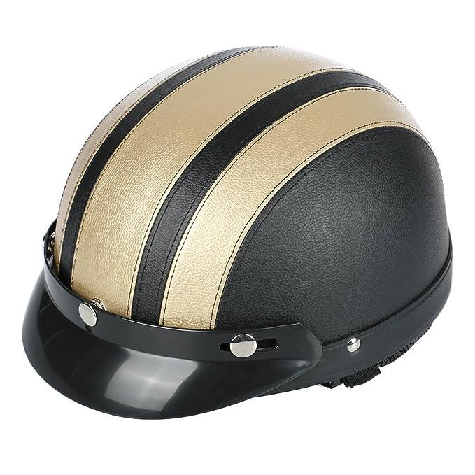 Amazon.es: Frenshion Casco De La Motocicleta Verano Casquillo De Béisbol Estilo Mujeres Hombres Abierto Casco Motorcycle Helmet De La Media Cara Con Correa ...