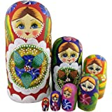 Winterworm® 7pcs Red Flowers and Berries Wooden Russian Nesting Dolls Matryoshka Russian Doll Perfect Mother's Day Gift