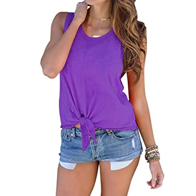 Amazon.com  Domy Women s Casual Summer Top Sleeveless Tie Front Knot ...