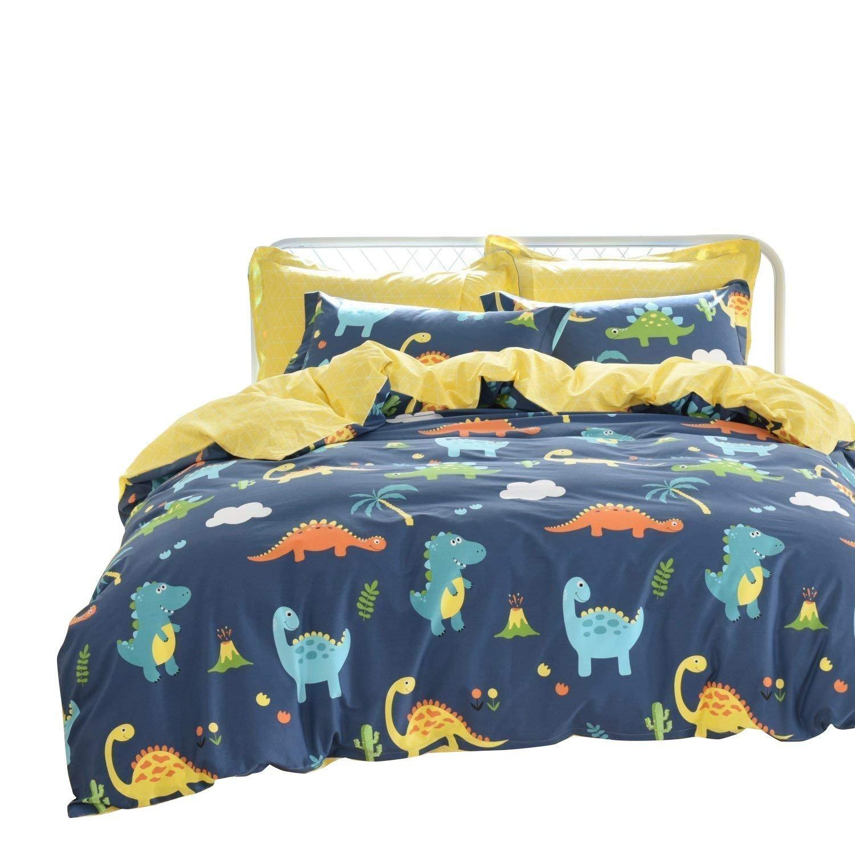 Brandream Kids Full Size Bedding Sets Dinosaurs Bedding 100% Cotton Boys Duvet Cover Set 3-Piece(Comforter Not Included)