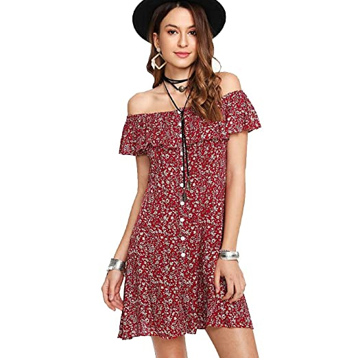 39a71cf3f74 Thin Women or Juniors Summer Dress/Shirt Off Shoulder Fit Comfy Floral  Casual Dresses Mini Dress Ladies Beach Party Dresses