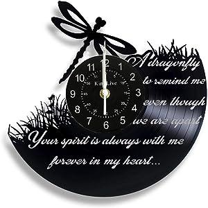 Vinyl Record wall clock Dragonfly Vinyl Record Wall Clock Dragonfly Clock Animal Home Decor Wall Art Gift for Friend