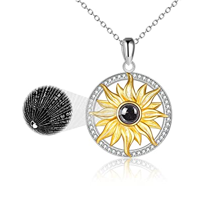 ONEFINITY I Love You Necklace 100 Languages for Women Sterling Silver Sunflower Love Pendant Crystal Love Memory Projection Necklaces for Girlfriend Wife Romantic Gifts for Her