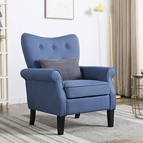 Artechworks Accent Chair Comfy Upholstered Armchair Living Room Furniture,  Blue Color