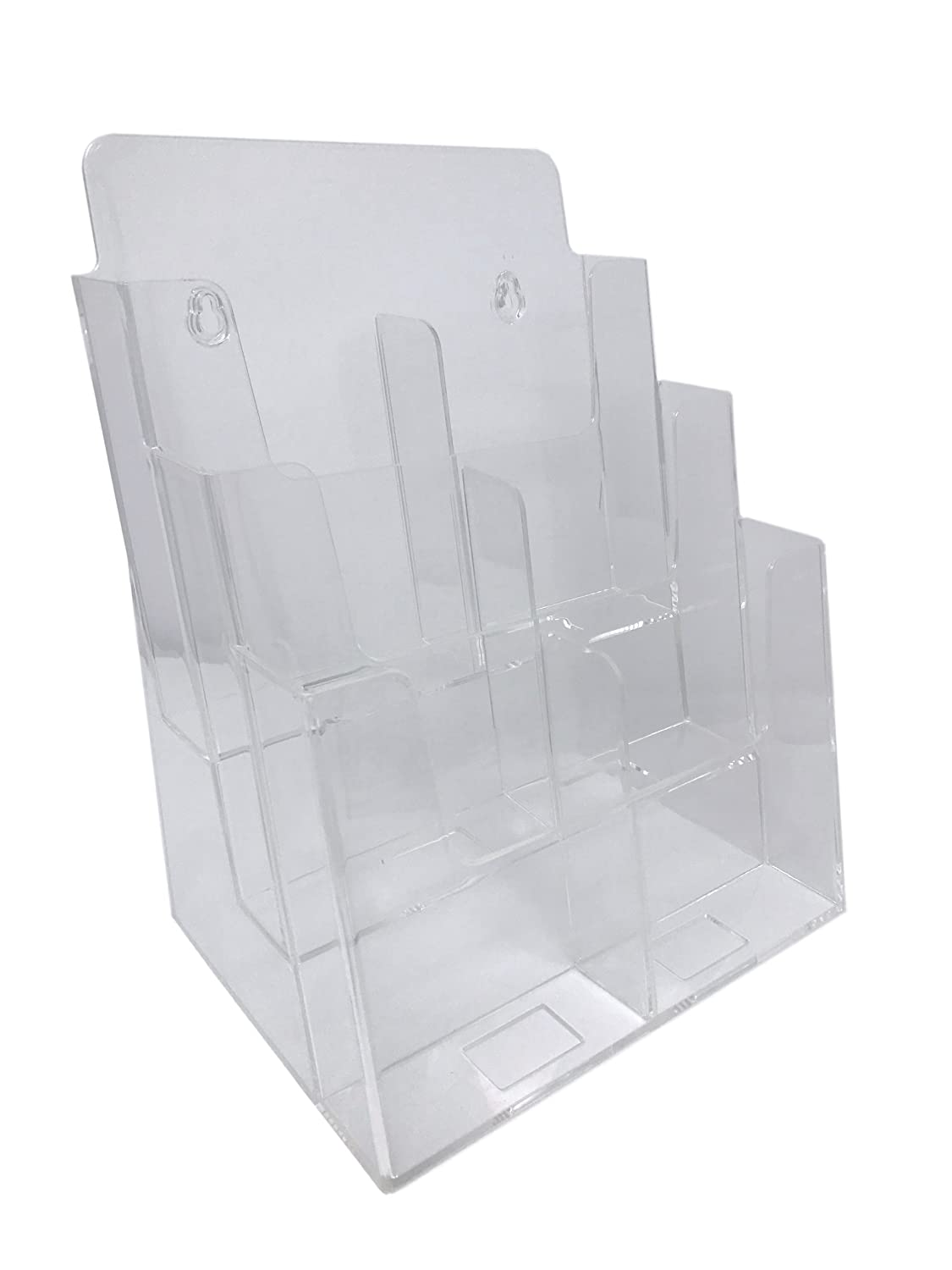 """Dazzling Displays Clear Acrylic 3-Tier Brochure Holder for 8.5""""w or 4""""w Literature"""