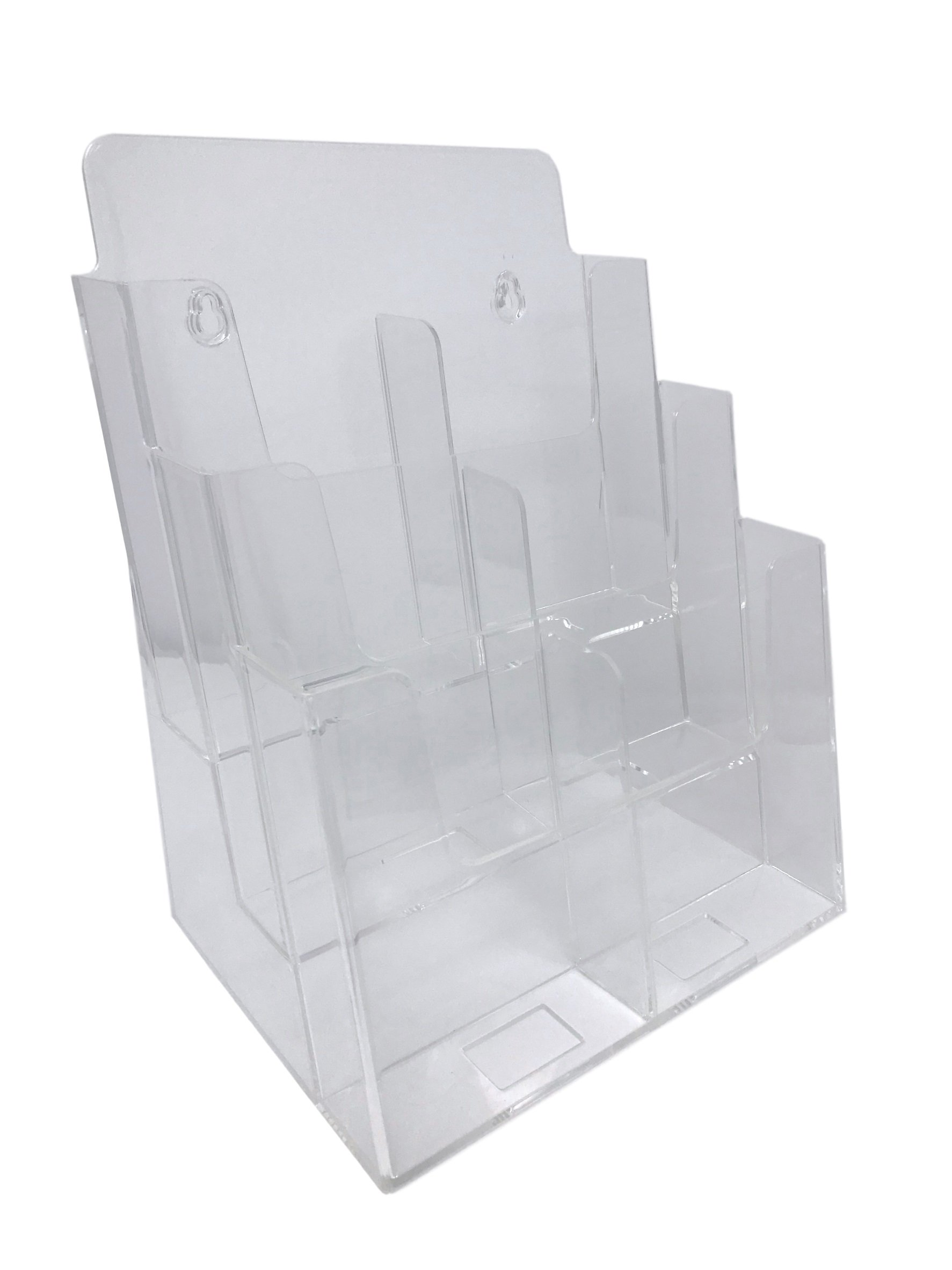 Dazzling Displays Clear Acrylic 3-Tier Brochure Holder for 8.5''w or 4''w Literature