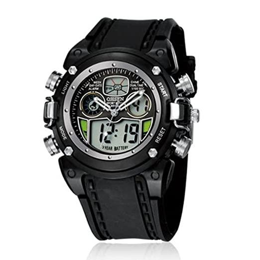 bc96be8d2fc Buy New OHSEN Waterproof Diver Military Wristwatch Mens Dual Time Sport  Watch Alarm Date Week Chronograph Relogio Feminino Masculino - Black Online  at Low ...