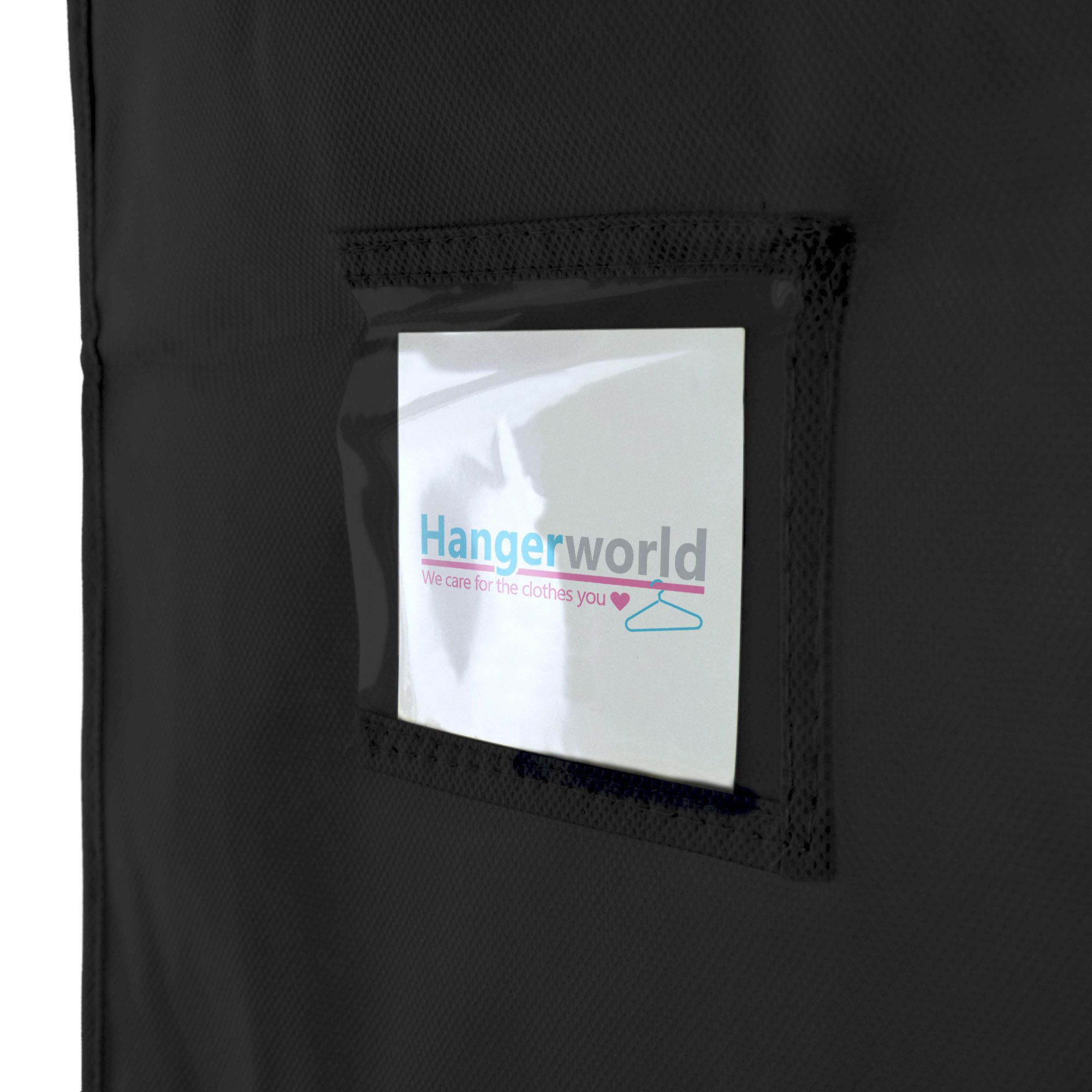 Hangerworld Black Breathable 60 inch Suit Garment Bag - Extra Long cover for Dresses and Gowns, Featuring a Secret Internal Zipped Pocket for safe storage. by HANGERWORLD (Image #5)