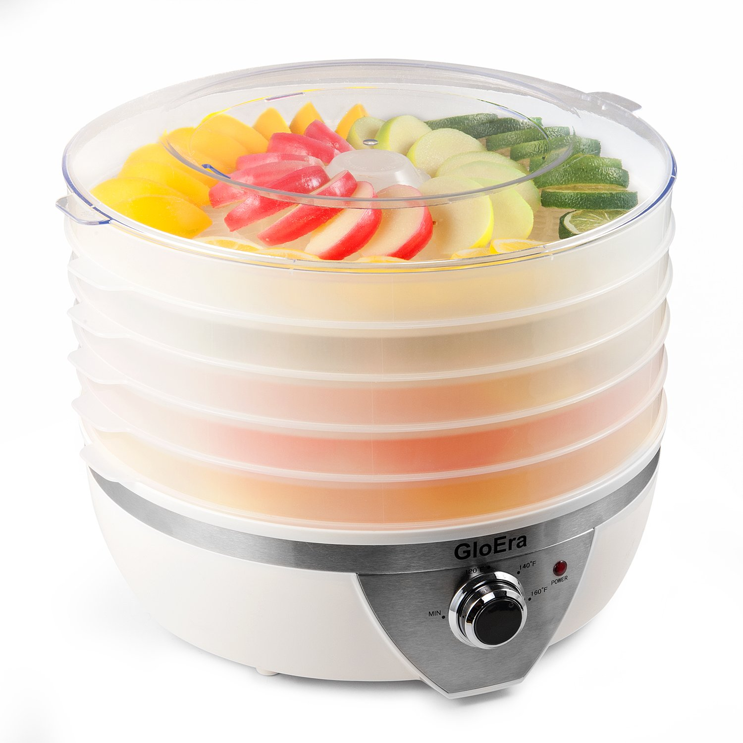 Food Dehydrator Machine,GloEra 5 Layers Electric Fruit dryer Snackmaster with BPA Free and Overheat Protection