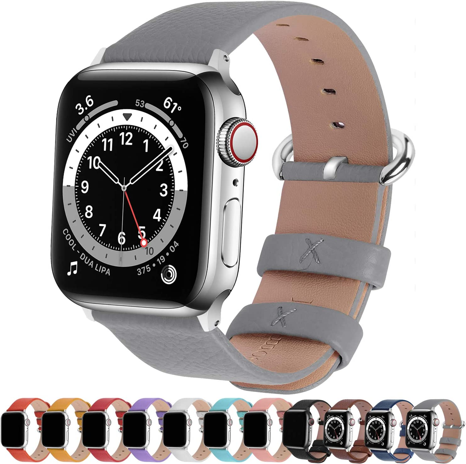 Fullmosa Compatible Apple Watch Band 38mm 40mm 42mm 44mm Leather Compatible iWatch Band/Strap Compatible Apple Watch SE & Series 6 5 4 3 2 1, 42mm 44mm Grey + Silver Buckle