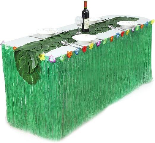 BESTOYARD Falda de mesa de hierba hawaiana con 12 piezas Hojas de ...