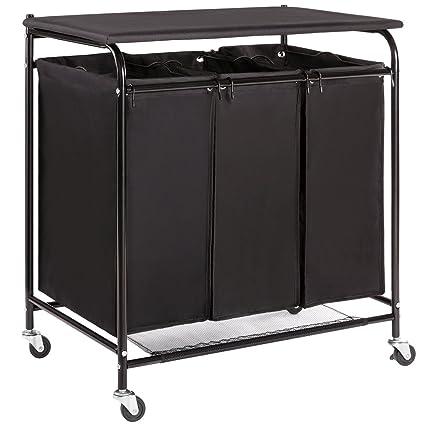 Amazoncom HollyHOME 3Bag HeavyDuty Laundry Sorter Cart with