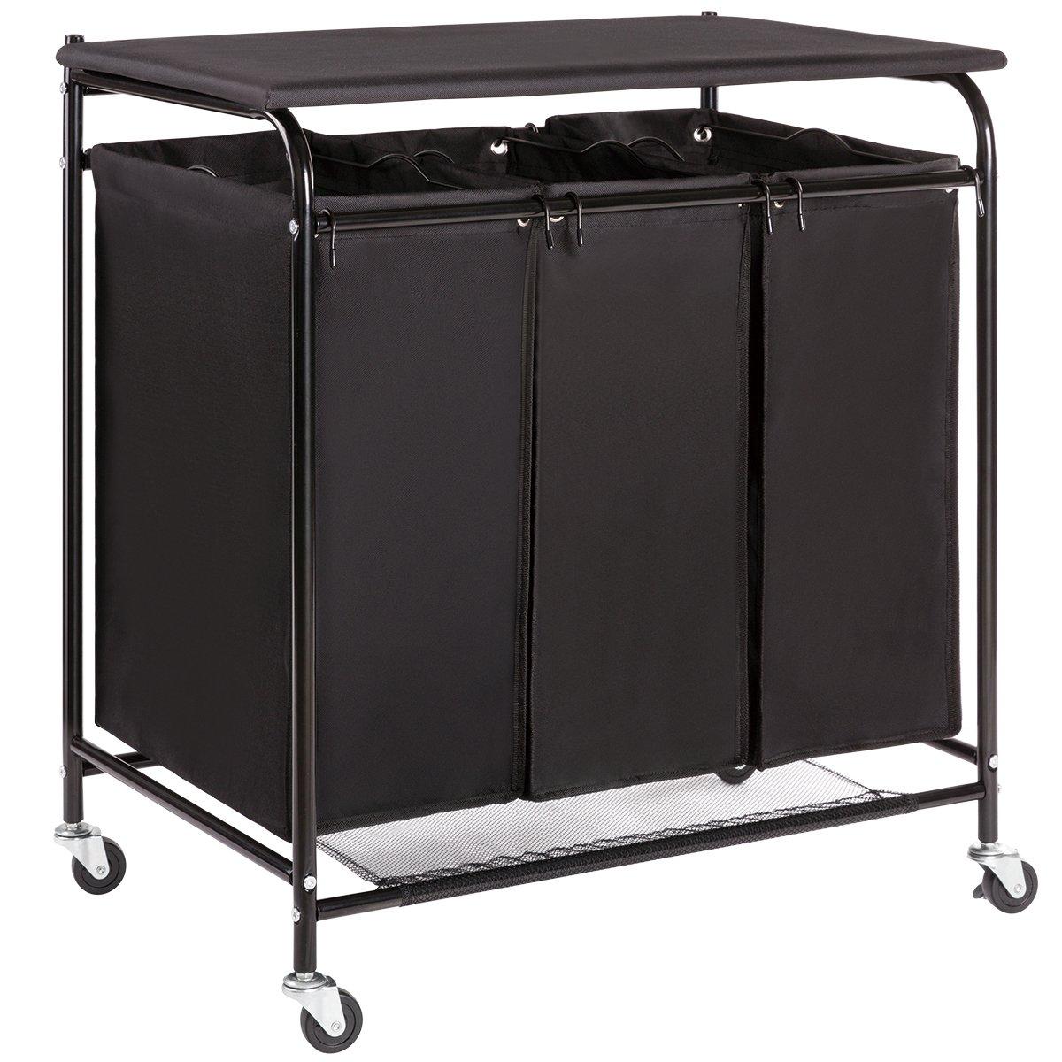 3 bag heavy duty rolling laundry sorter cart hamper organizer with ironing board 6951390933963. Black Bedroom Furniture Sets. Home Design Ideas