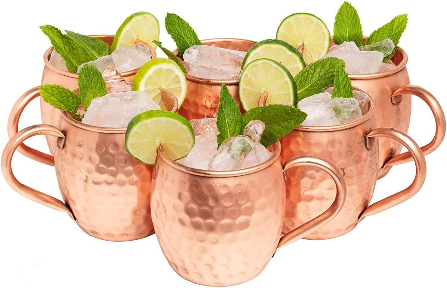 Kitchen Science Moscow Mule Copper Mugs - 16 Ounce, Set of 6 gift set- 100% Artisan Handcrafted, Food Safe Pure Solid Copper Mugs with Traditional and Timeless Design