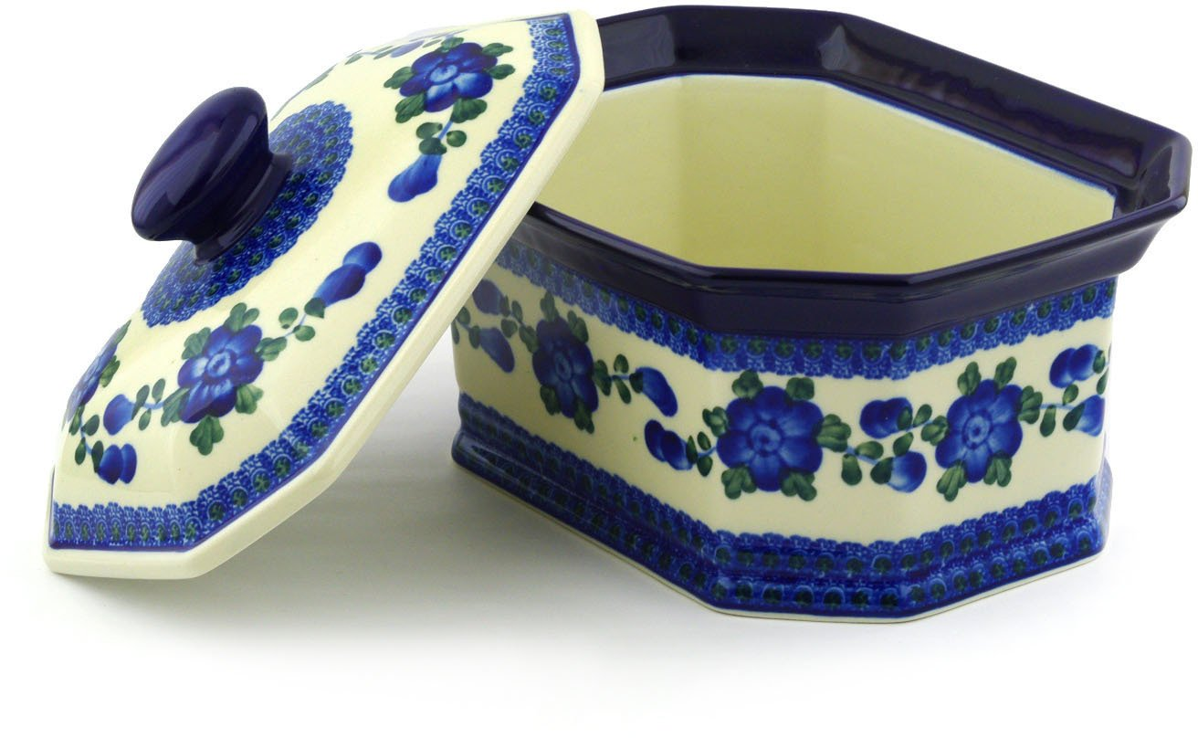Polish Pottery Jar with Lid 10-inch Blue Poppies