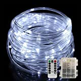 LED Rope Lights YIHONG Battery Operated String Lights 33ft 8 Mode Fairy Lights Waterproof Firefly lights with Remote Timer for Outdoor Indoor Halloween Thanksgiving Christmas Decoration Cool White