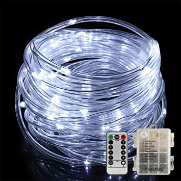 Amazon led rope lights yihong battery operated string lights led rope lights yihong battery operated string lights 33ft 8 mode fairy lights waterproof firefly lights mozeypictures Choice Image