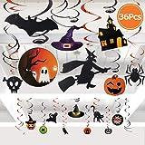 FLY2SKY 36PCS Halloween Decorations Swirl Ceiling Hanging Decoration Halloween Party Decorations for Kids Witch Bat Pumpkin Spider Skull décor